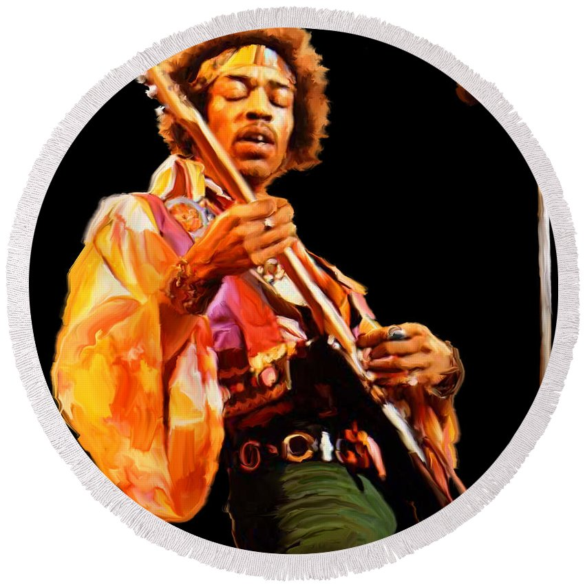 Jimi Round Beach Towel featuring the painting Hendrix by Paul Tagliamonte