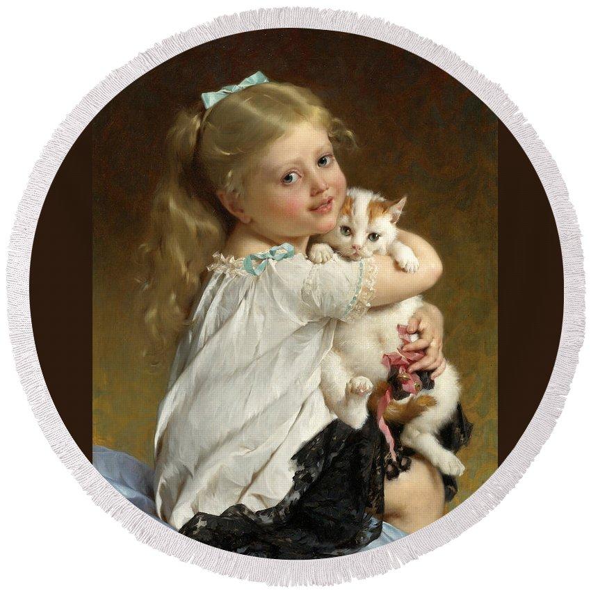 Emile Munier Round Beach Towel featuring the painting Her Best Friend by Emile Munier