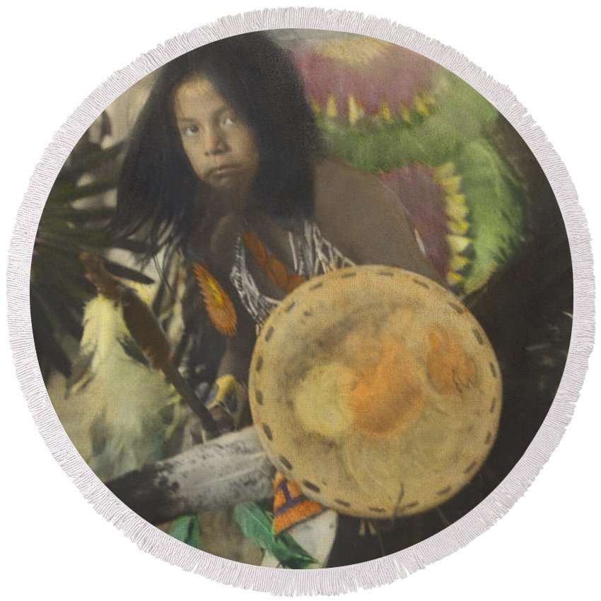 Traditional Round Beach Towel featuring the photograph Heratige #1-young Traditional Dancer by Larry Kjorvestad