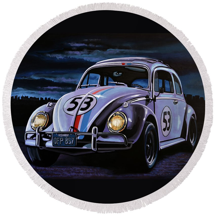 Herbie Round Beach Towel featuring the painting Herbie The Love Bug Painting by Paul Meijering