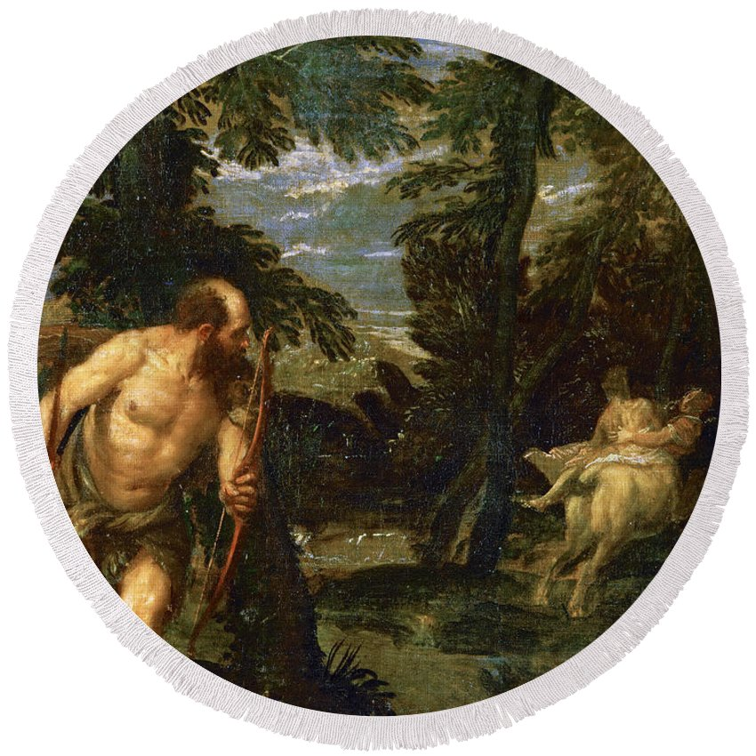 Paolo Veronese Round Beach Towel featuring the painting Hercules Deianira And The Centaur Nessus by Paolo Veronese