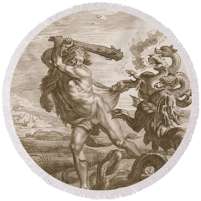 Classical Round Beach Towel featuring the drawing Hercules Fights The Lernian Hydra by Bernard Picart