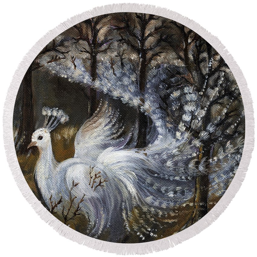 Peacock Round Beach Towel featuring the painting Here Comes The Mist by Angel Ciesniarska