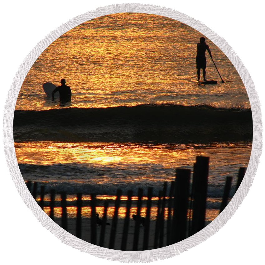 Art For The Wall...patzer Photography Round Beach Towel featuring the photograph Here Comes The Sun by Greg Patzer