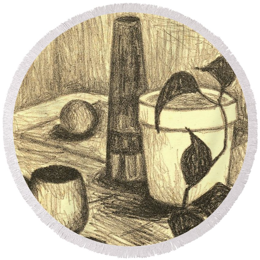 Still Life Round Beach Towel featuring the drawing Here Is The Flashlight by Kendall Kessler