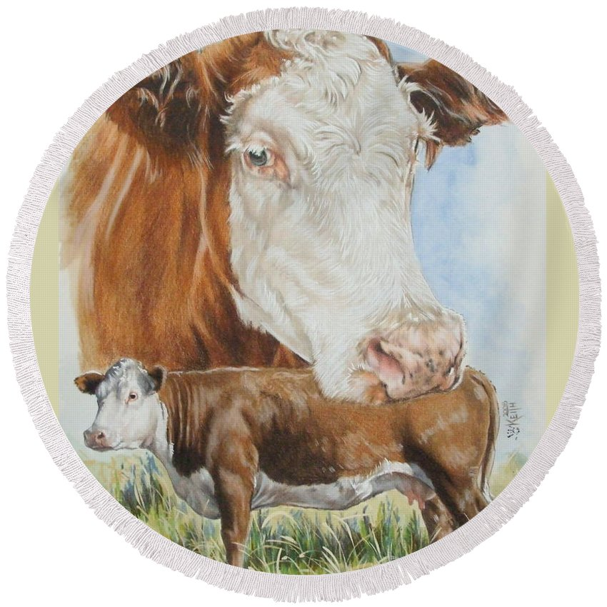 Cattle Round Beach Towel featuring the mixed media Hereford Cattle by Barbara Keith