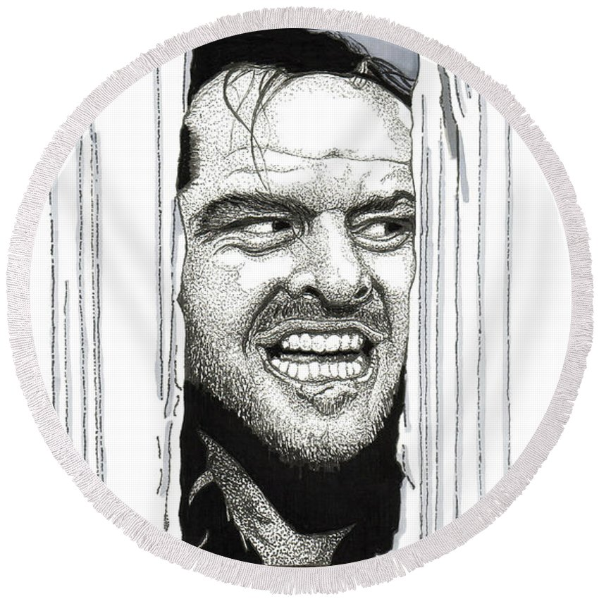 Jack Nicholson Round Beach Towel featuring the drawing Here's Johnny by Cory Still