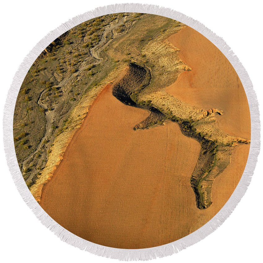 Aerial Photo Round Beach Towel featuring the photograph heridas de tierra Aerial photography by Guido Montanes Castillo