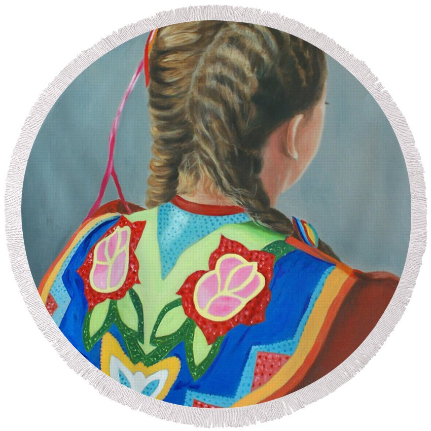 Native American Round Beach Towel featuring the painting Heritage by Jill Ciccone Pike
