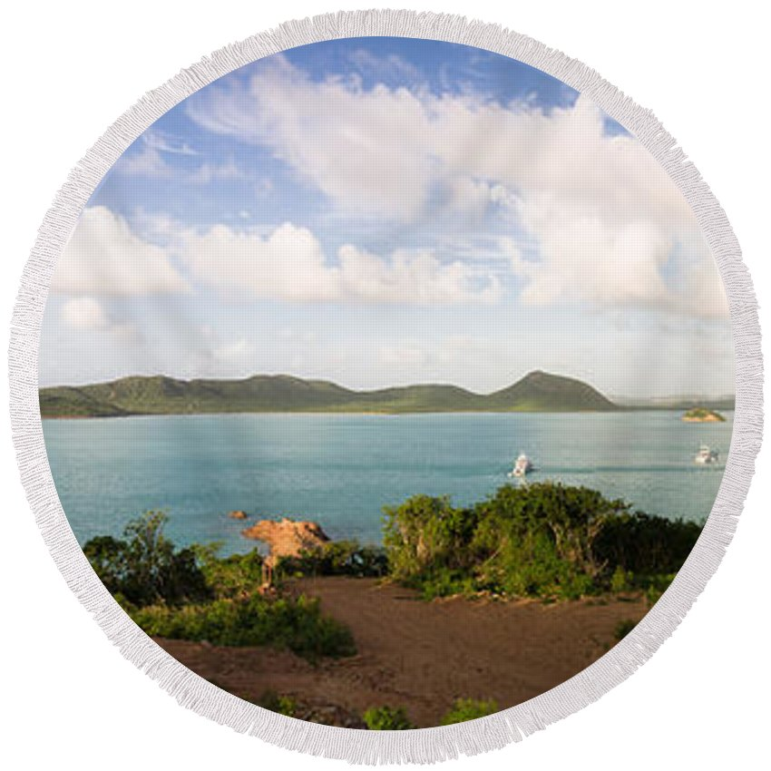 Antigua And Barbuda Round Beach Towel featuring the photograph Hermitage Bay Panorama by Ferry Zievinger