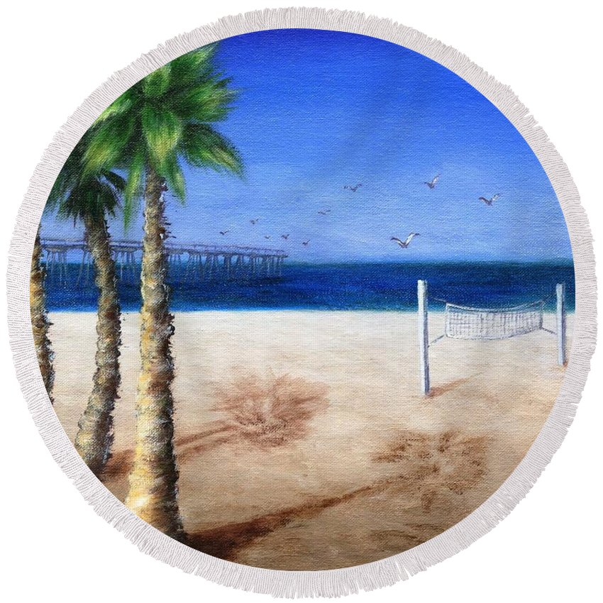 Palm Round Beach Towel featuring the painting Hermosa Beach Pier by Jamie Frier