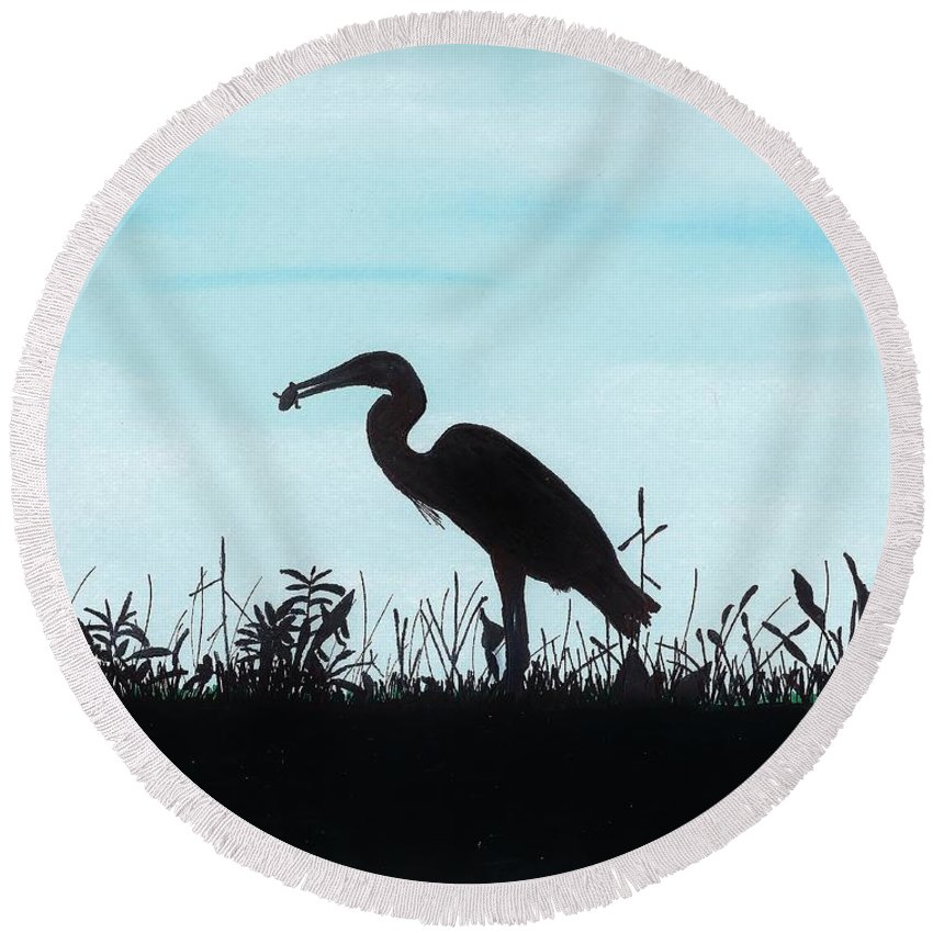 Bird Round Beach Towel featuring the drawing Heron Has Supper by D Hackett