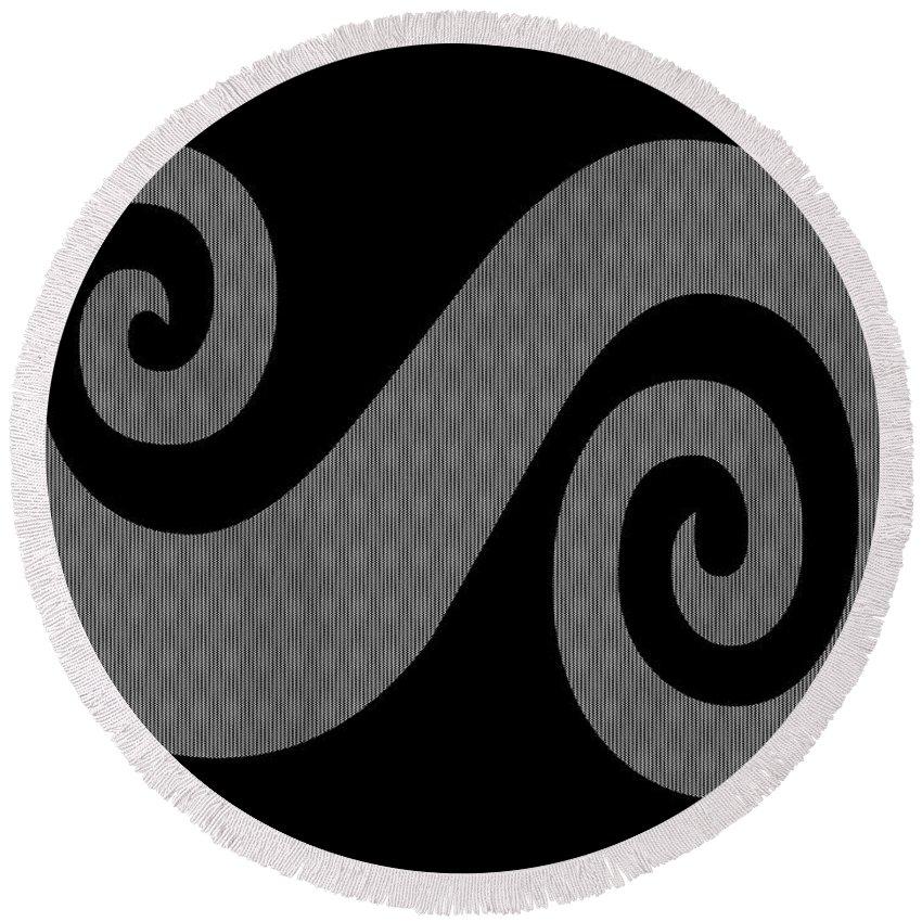 Herringbone Swirl On Black Round Beach Towel featuring the digital art Herringbone Swirl On Black by Barbara Griffin