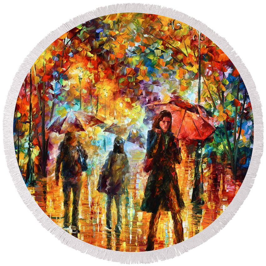 Afremov Round Beach Towel featuring the painting Hesitation Of The Rain by Leonid Afremov
