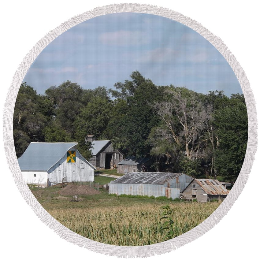 Green Round Beach Towel featuring the photograph Hex Sign Barn by Caryl J Bohn