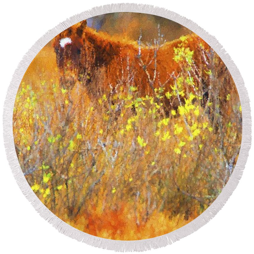 Chincoteague Pony Round Beach Towel featuring the photograph Hidden Colt by Alice Gipson