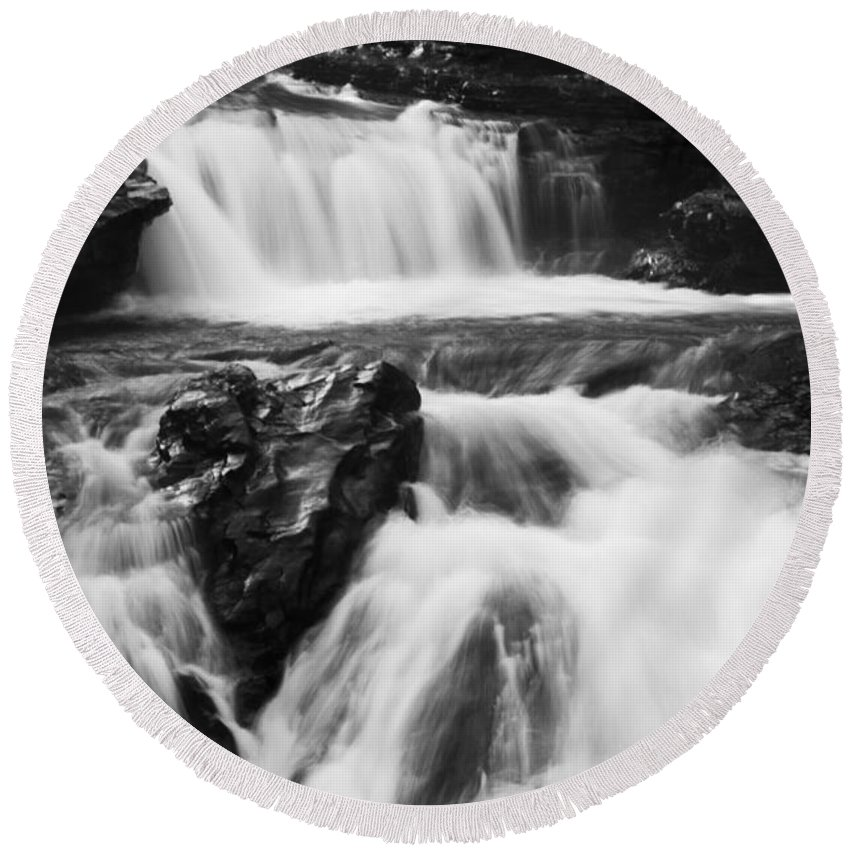 Sheep River Round Beach Towel featuring the photograph Hidden Falls Sheep River 1 by Bob Christopher