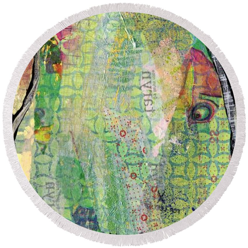 Tree Round Beach Towel featuring the painting Hidden Forests IIi by Shadia Derbyshire