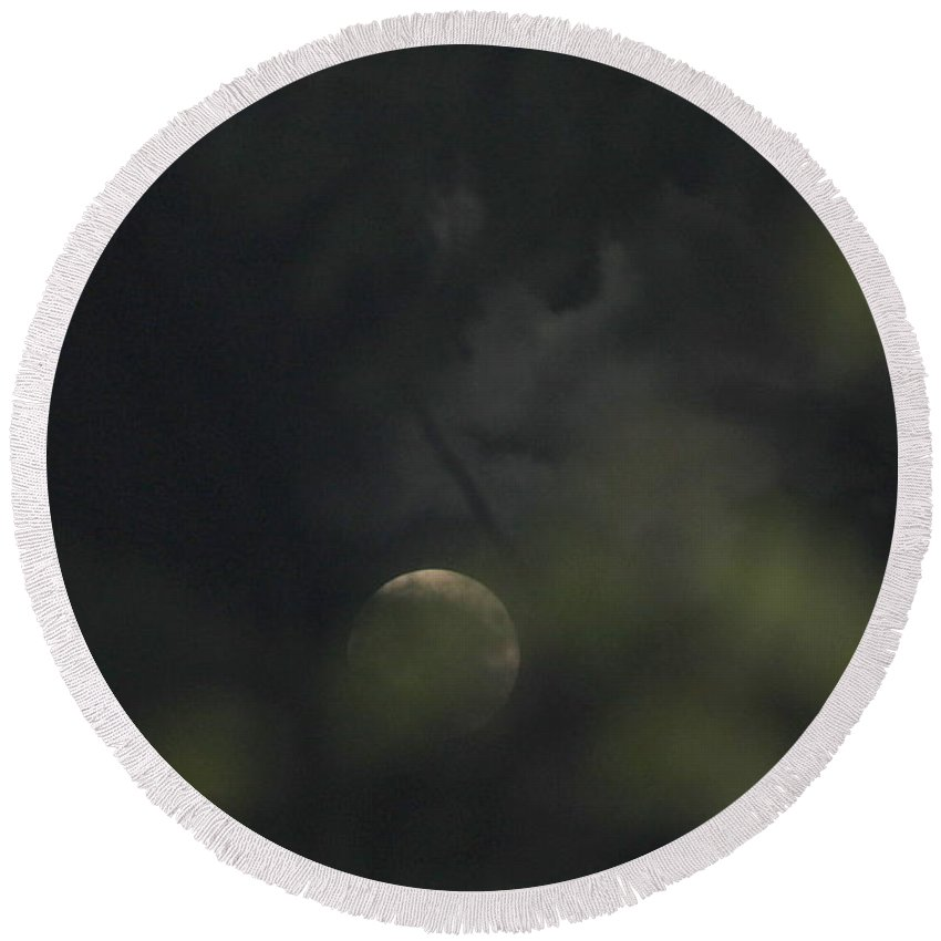 Moon Round Beach Towel featuring the photograph Hidden Moon by Leone Lund