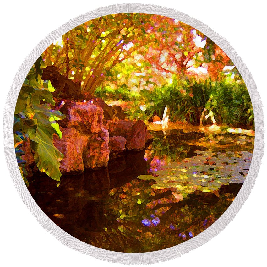 Water Landscape Round Beach Towel featuring the painting Hidden Pond by Amy Vangsgard