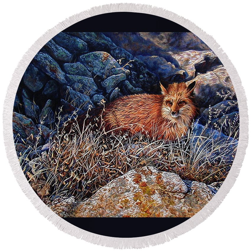 Fox Round Beach Towel featuring the painting Hide And Seek by Craig Burgwardt