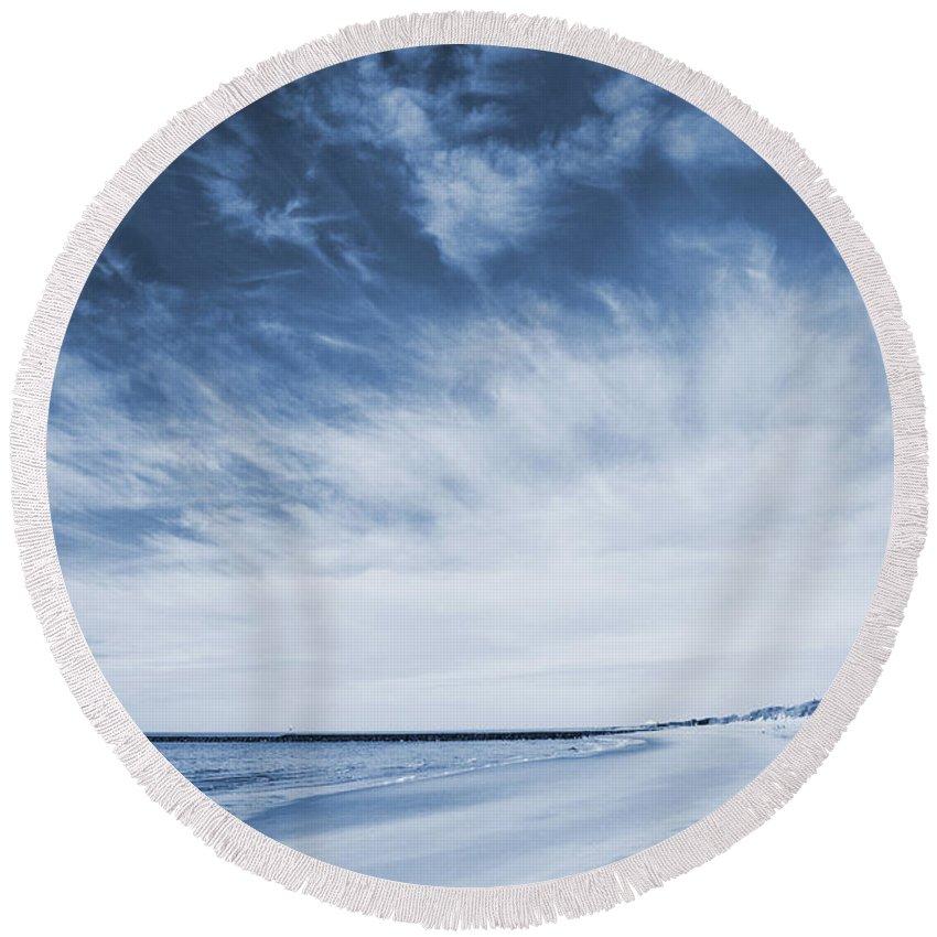 Cape May Round Beach Towel featuring the photograph Higbee Beach Cyanotype by Jennifer Ancker
