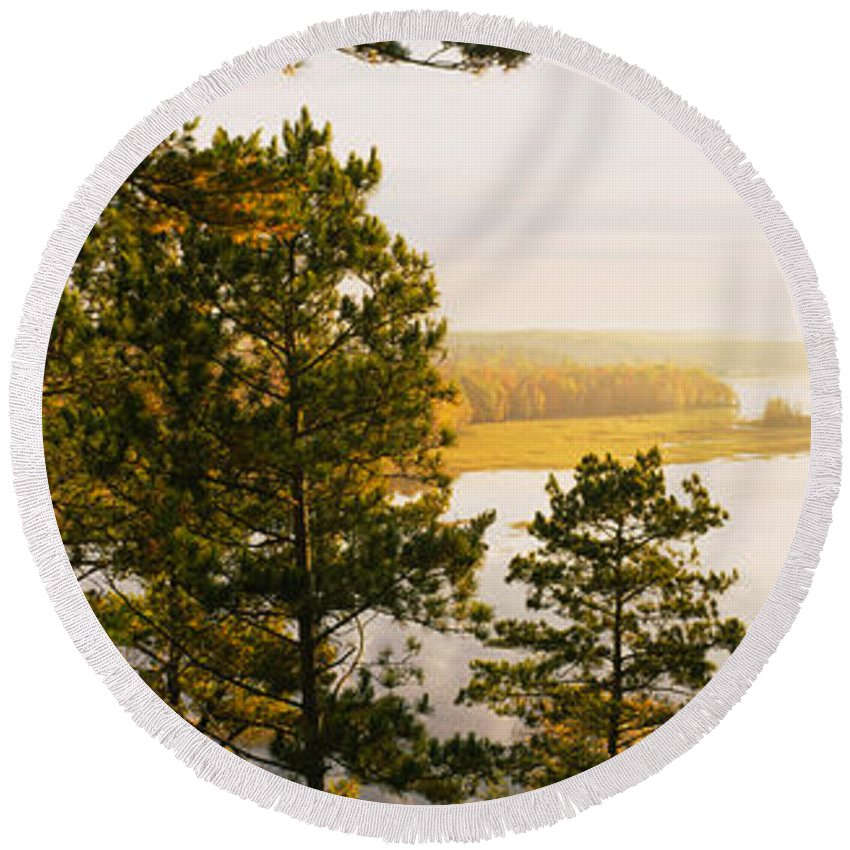 Photography Round Beach Towel featuring the photograph High Angle View Of A River, Ausable by Panoramic Images