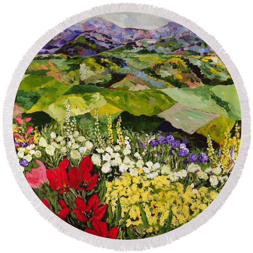 Landscape Round Beach Towel featuring the painting High Mountain Patch by Allan P Friedlander