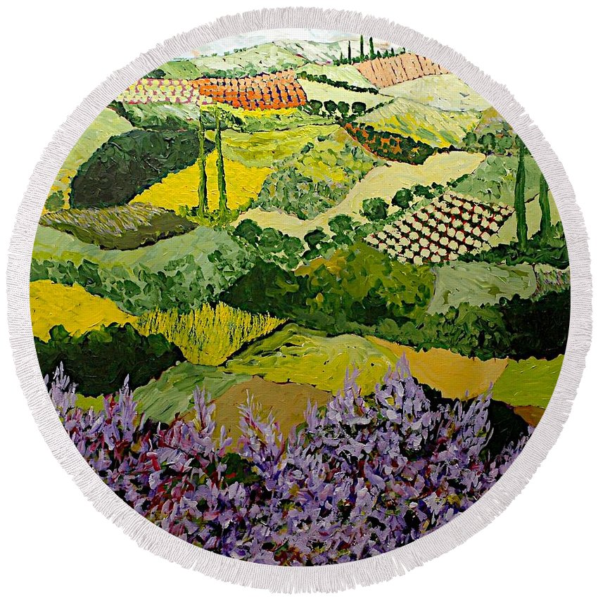 Landscape Round Beach Towel featuring the painting High Ridge by Allan P Friedlander