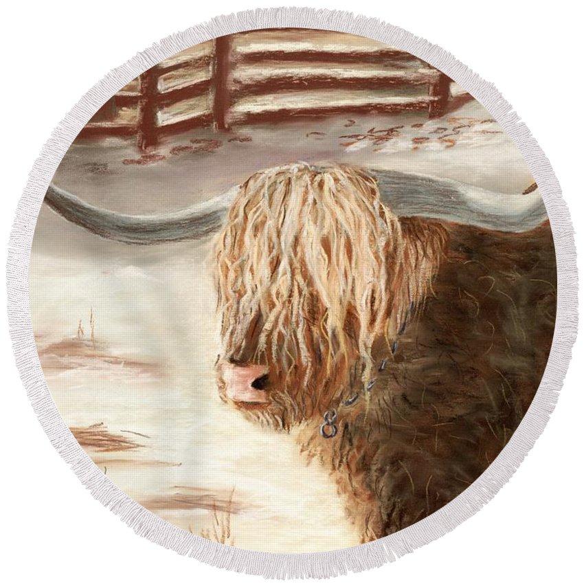 Countryside Round Beach Towel featuring the painting Highland Bull by Anastasiya Malakhova