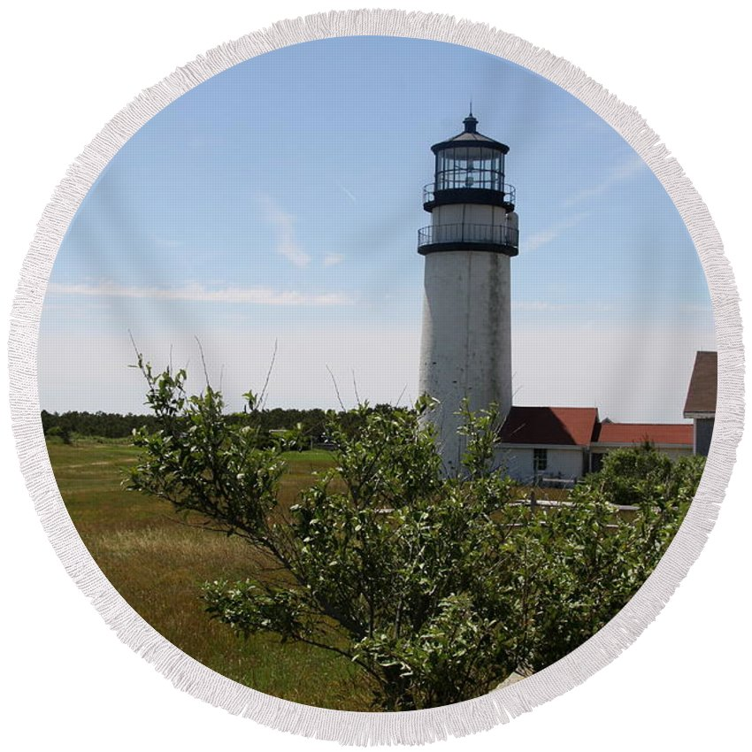 Highland Light Cape Cod Light Round Beach Towel featuring the photograph Highland Light - Cape Cod - Ma by Christiane Schulze Art And Photography