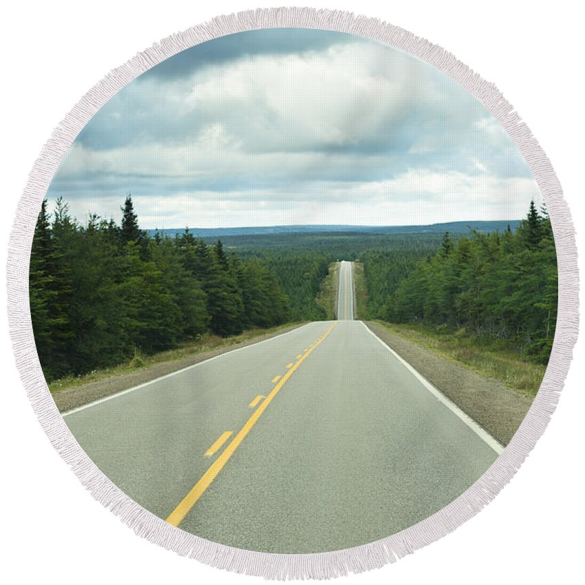 Cloudy Round Beach Towel featuring the photograph Highway by U Schade