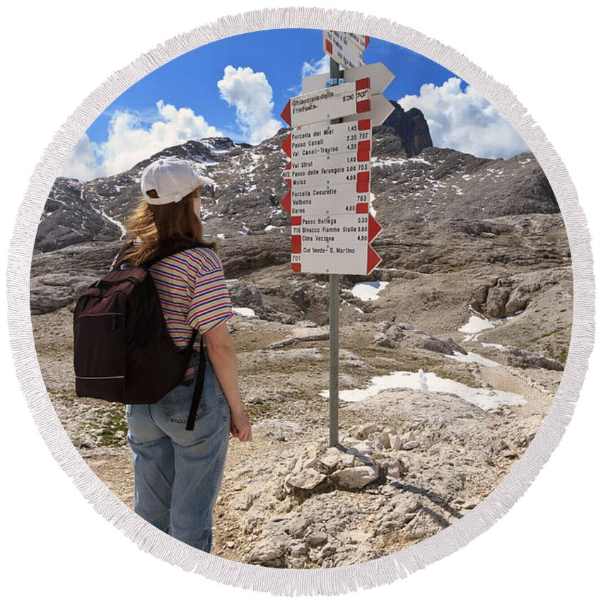 Alpine Round Beach Towel featuring the photograph Hiker And Directions by Antonio Scarpi