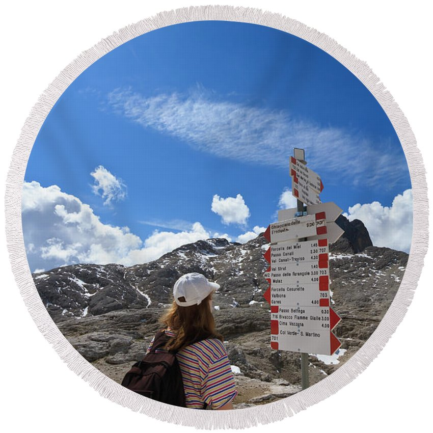 Alpine Round Beach Towel featuring the photograph Hiker Find The Way by Antonio Scarpi