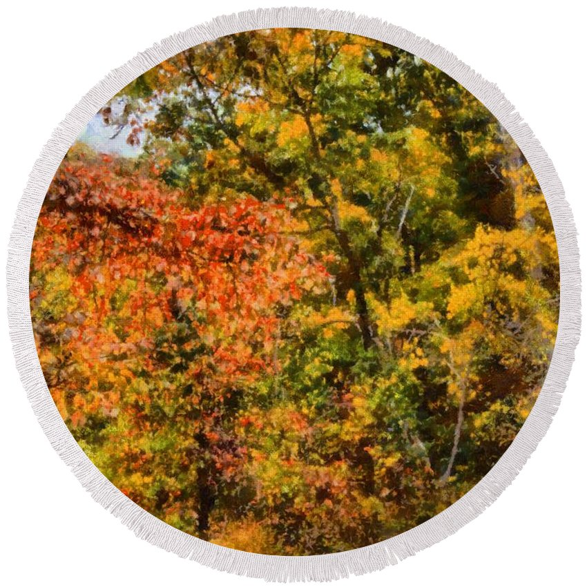 Hiking In Autumn Round Beach Towel featuring the painting Hiking In Autumn by Dan Sproul