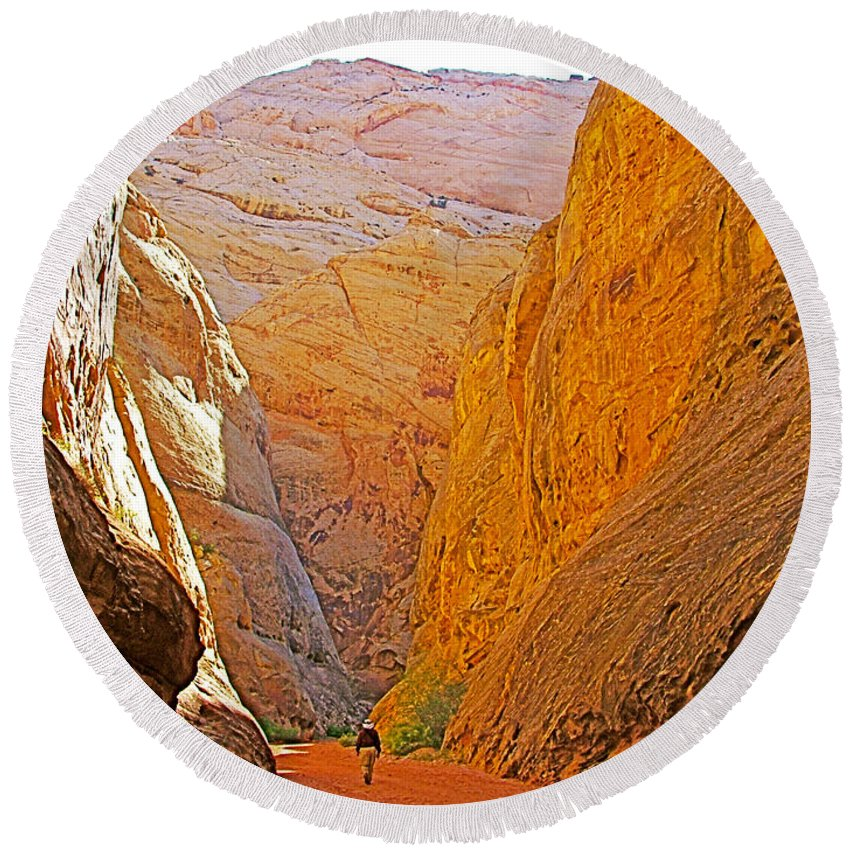 Hiking In Grand Wash In Capitol Reef National Park Round Beach Towel featuring the photograph Hiking In Grand Wash In Capitol Reef National Park-utah by Ruth Hager