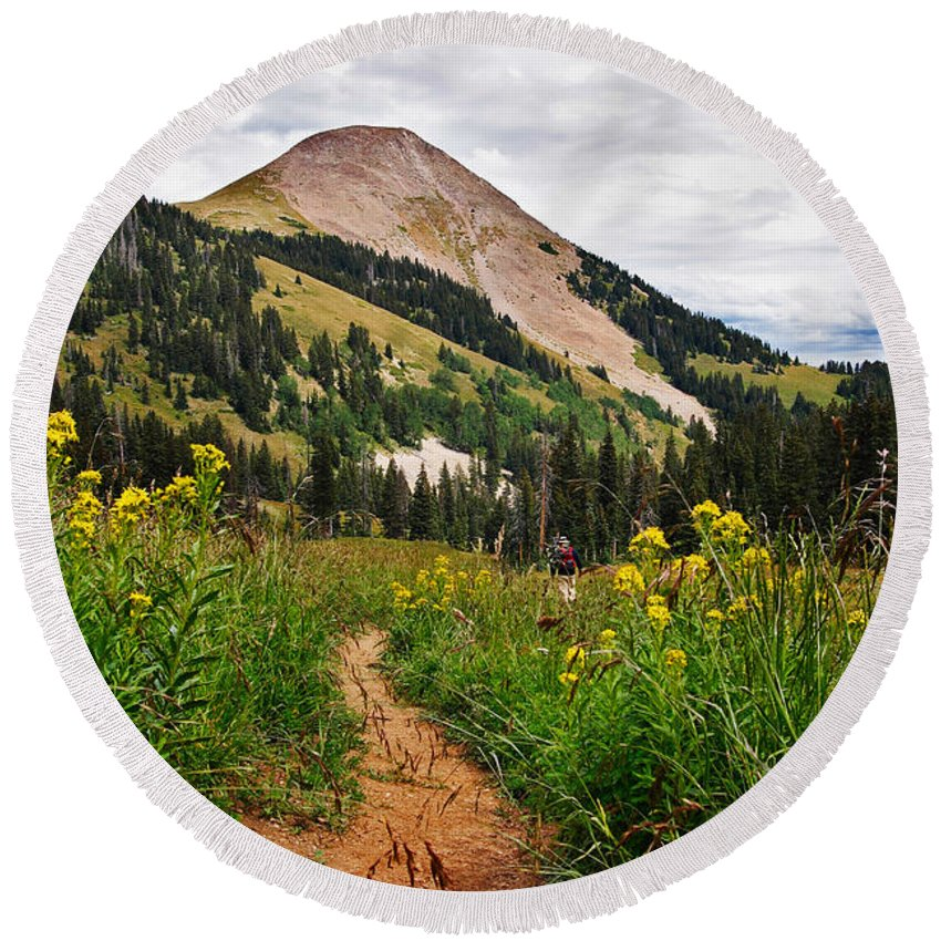 3scape Photos Round Beach Towel featuring the photograph Hiking In La Sal by Adam Romanowicz