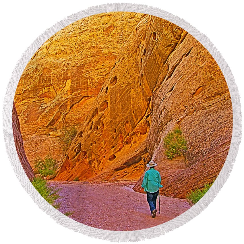 Hiking On Capitol Gorge Pioneer Trail In Capitol Reef National Park Round Beach Towel featuring the photograph Hiking On Capitol Gorge Pioneer Trail In Capitol Reef National Park-utah by Ruth Hager