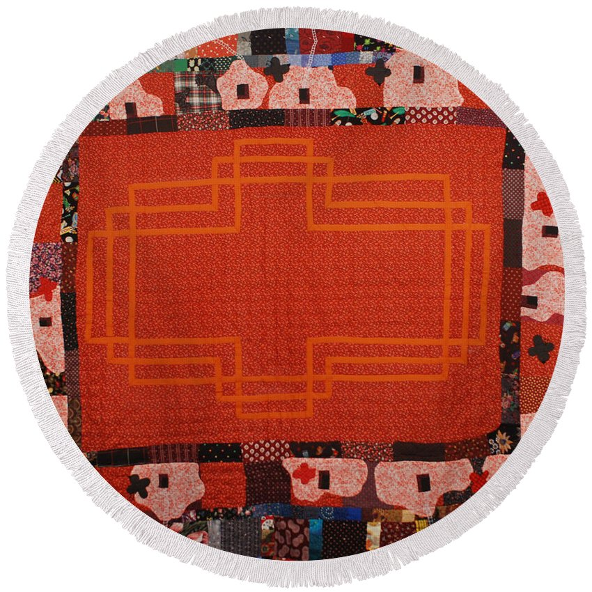 Quilt Fabric Sewn Orange Patchwork Quilted Pattern Original White Birds Red-orange Round Beach Towel featuring the tapestry - textile Hildegard by Nancy Mauerman