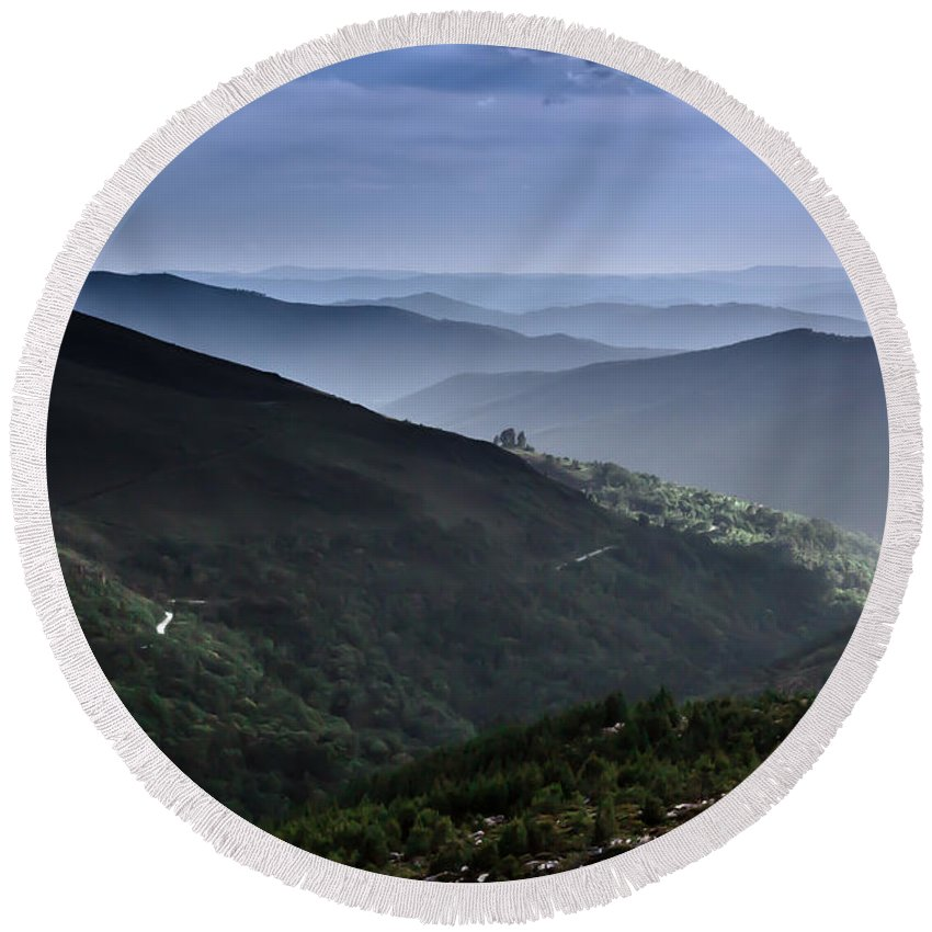 Mountain Round Beach Towel featuring the photograph Hills And Valleys by Edgar Laureano