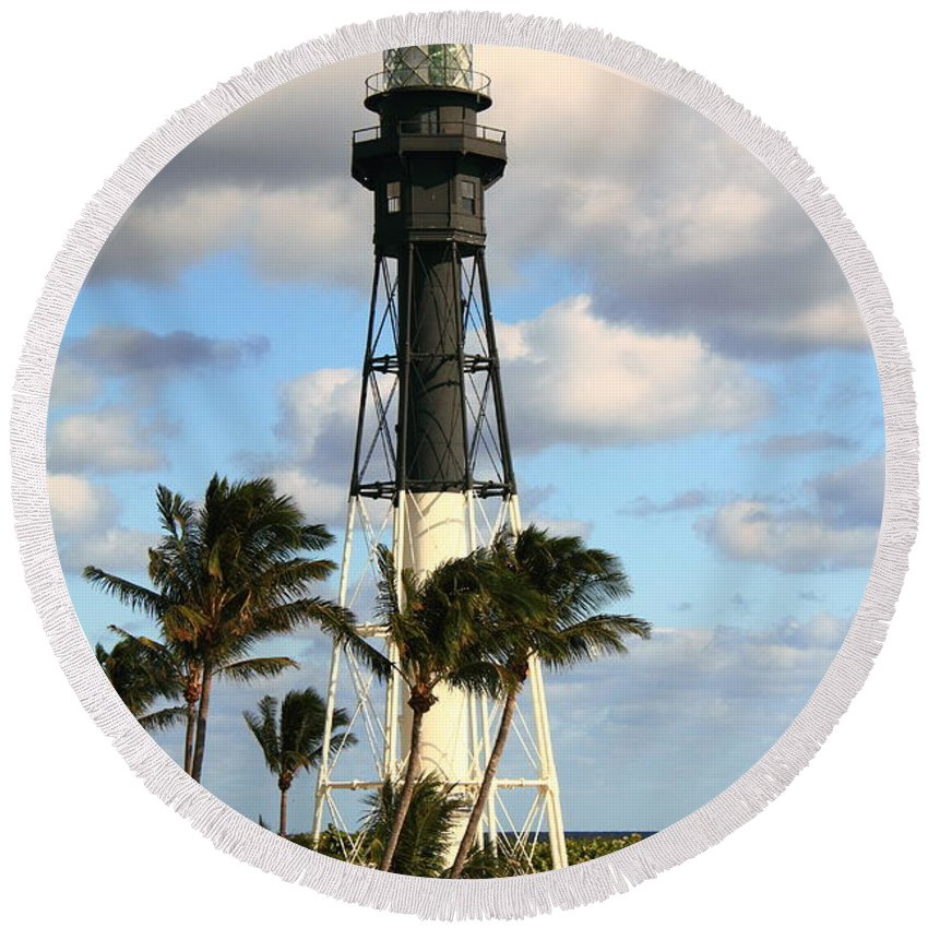 Lighthouse Round Beach Towel featuring the photograph Hillsboro Inlet Lighthouse by Roupen Baker