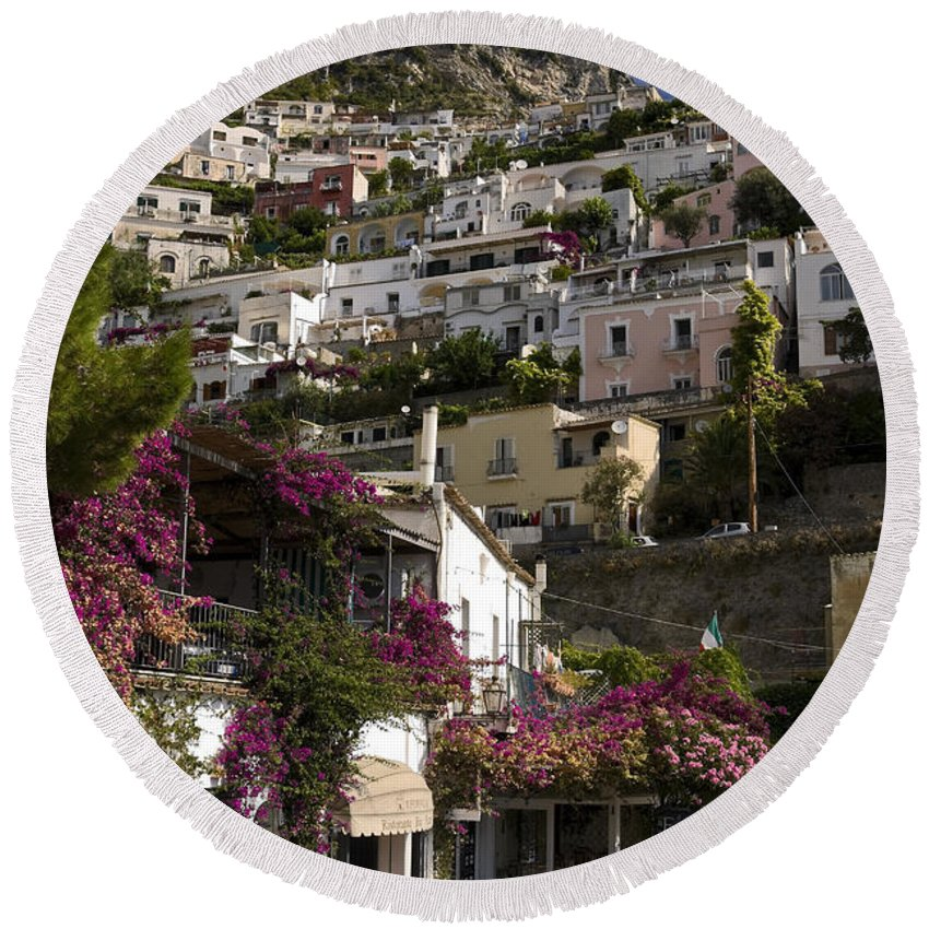 Town Built On Steep Cliff Round Beach Towel featuring the photograph Hillside Positano by Sally Weigand