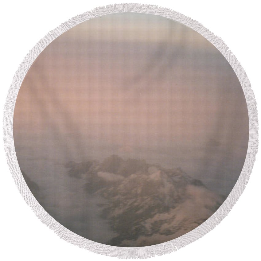 First Star Round Beach Towel featuring the photograph Himalayas 3 by First Star Art