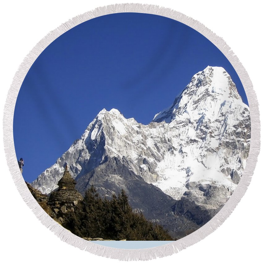 Ama Dablam Round Beach Towel featuring the photograph Himalayas by Tim Hester