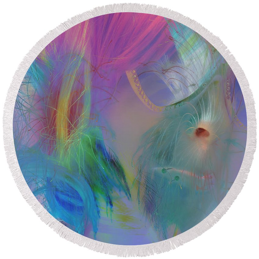 Abstract Round Beach Towel featuring the photograph Hippie Girl by The Artist Project