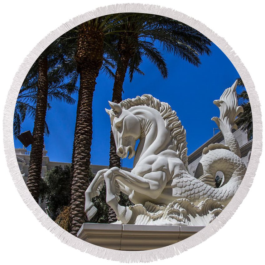 Nevada Round Beach Towel featuring the photograph Hippocampus At Caesars Palace by Angus Hooper Iii