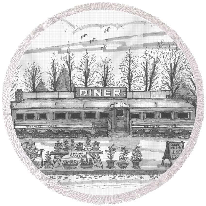 Historic Village Diner Round Beach Towel featuring the drawing Historic Village Diner by Richard Wambach