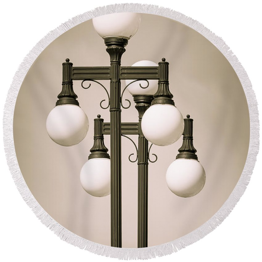 Lamps Round Beach Towel featuring the photograph Historic Ybor Lamp Posts by Carolyn Marshall