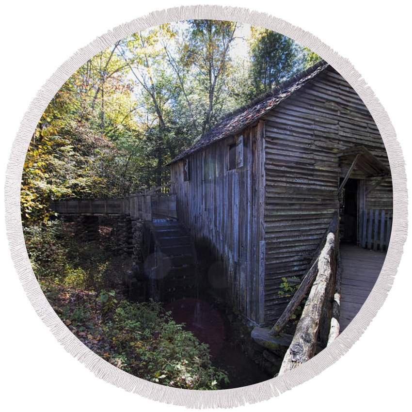 Historical Round Beach Towel featuring the photograph Historical 1868 Cades Cove Cable Mill by Kathy Clark