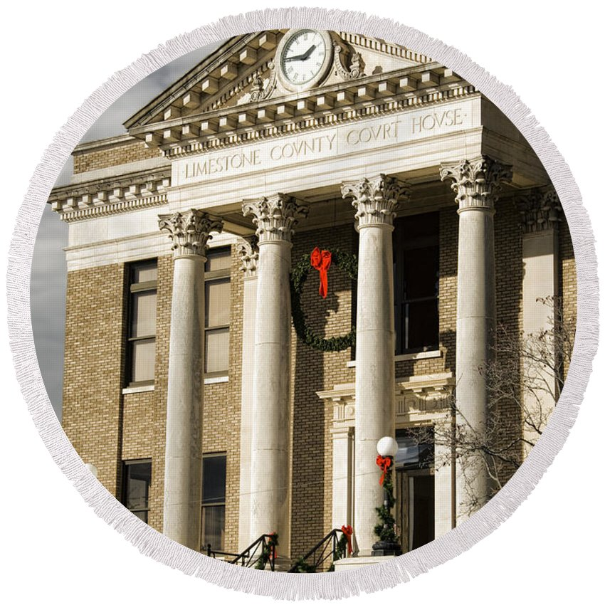 Historical Round Beach Towel featuring the photograph Historical Athens Alabama Courthouse Christmas by Kathy Clark